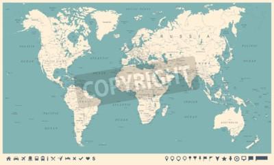 Fototapete Weinlese-Weltkarte und -markierungen - ausführliche Vektor-Illustration