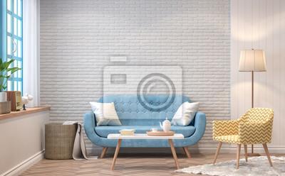 Weinlese-wohnzimmer 3d rendering image.the zimmer haben holzböden ...