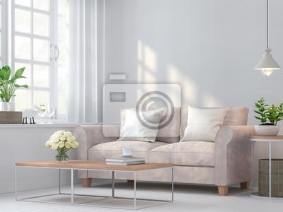Fototapete Weinlese Wohnzimmer 3d Rendering Image.The Zimmer Haben Weiße  Holzböden Und Weiße Wände