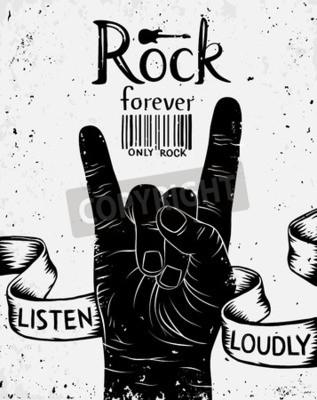 Fototapete Weinleseaufkleber mit Felsen für immer. Rock and Roll Handzeichen