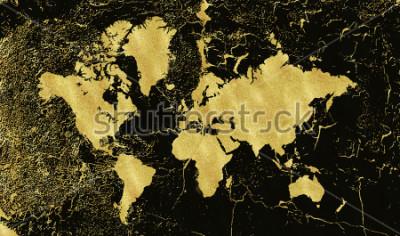 Fototapete Weinlesegoldkarte auf schwarzem Hintergrund. Tragen Sie Textur, Grunge, Goldpatina. Vorlage für Karten, Hochzeitseinladung, Poster, Blogs, Website und mehr