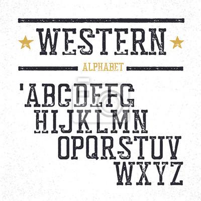 Weinlesewesternalphabet. Gestempelte serif Buchstaben. Grunge-Stil, r