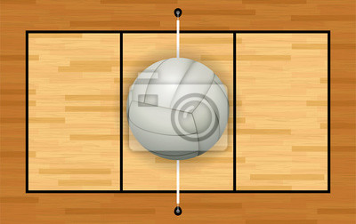 Weiß Volleyball auf Hartholzgericht Illustration