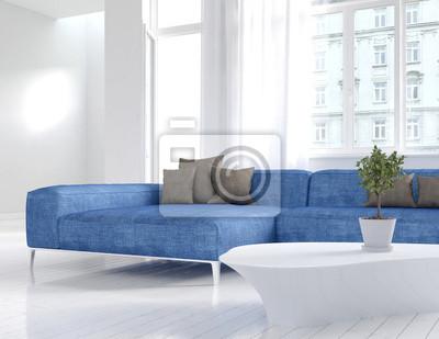 Weiß Wohnzimmer Innenraum Mit Blauen Couch Fototapete Fototapeten
