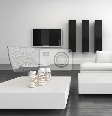 Fototapete: Weiß wohnzimmer-interieur mit modernen möbeln