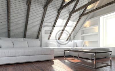 Fototapete Weiße Couch Im Dachgeschoss Wohnzimmer