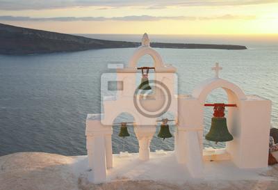 Fototapete weiße Glockenturm, Insel Santorin, Griechenland