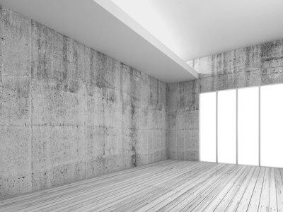 Fototapete Weiße Innenraum Hintergrund mit Holzboden, 3d