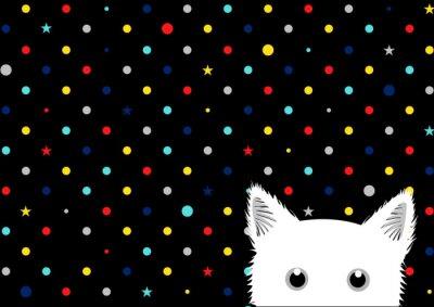 Fototapete Weiße Katze Bunte Punkte Stern Hintergrund Vektor-Illustration