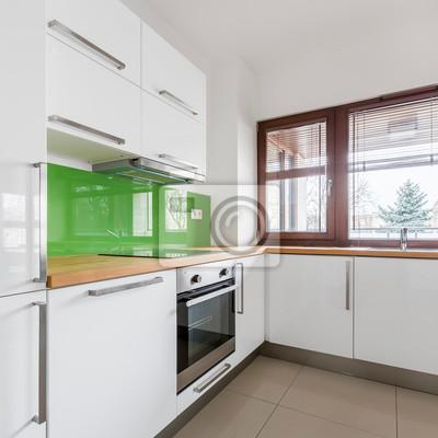 Weiße küche mit modernen schränken fototapete • fototapeten ...