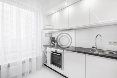Weiße Küche Mit Schwarzer Arbeitsplatte Fototapete Fototapeten