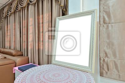 Weisse Leere Bilderrahmen Im Schlafzimmer Mock Up Design Fototapete