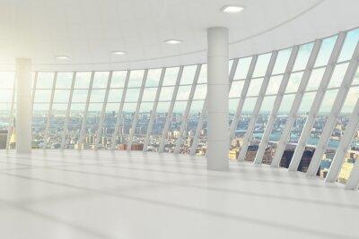 Fototapete Weiße leere Büro mit cityview