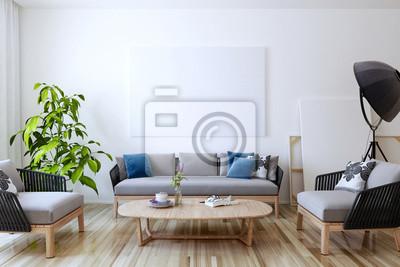 Weiße leinwand an der wand im wohnzimmer. 3d übertragen. fototapete ...