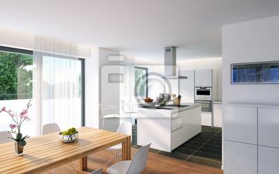 Fototapete Weiße, Moderne Küche   Luxus Weiße Küche