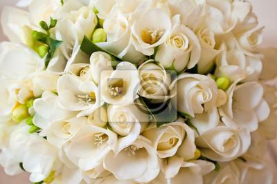 Weisse Rosen Brautblumen Hochzeits Blumenstrauss Fototapete
