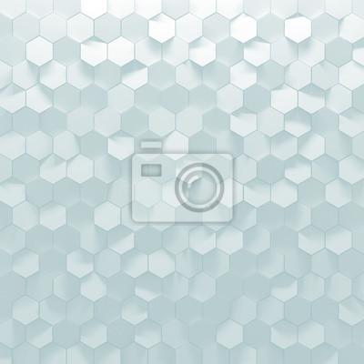 Weisse Sechseck Wandfliesen Textur Hintergrund Fototapete