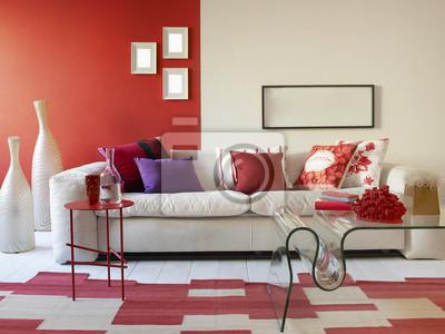 Weiße Sessel Rote Und Weiße Wand Fototapete Fototapeten Ablehnung