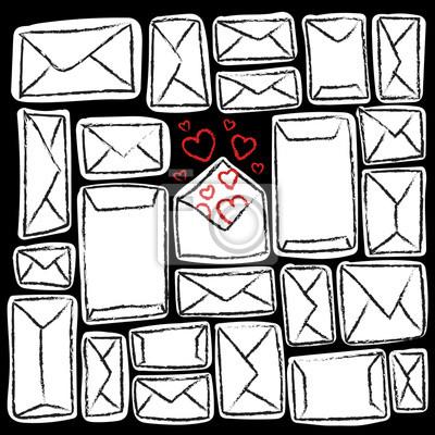 Weiße Umschläge auf schwarzem Hintergrund. Viele Briefe und eins mit Liebe.