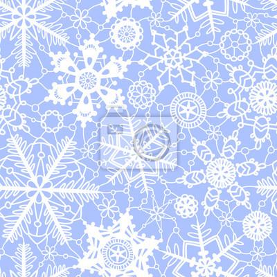 Weiße und blaue spitze häkeln schneeflocken nahtlose muster ...