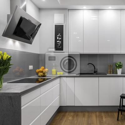 Weiße und graue küche fototapete • fototapeten Arbeitsplatte ...