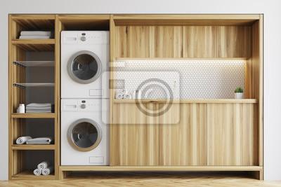 Waschküche Schrank weiße und hölzerne waschküche schrank fototapete fototapeten