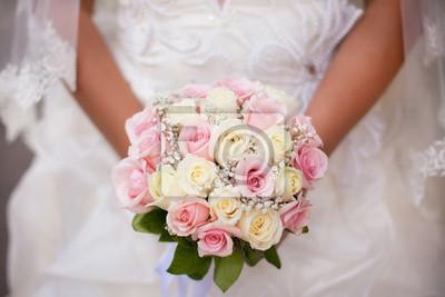 Weisse Und Rosafarbene Hochzeitsstrauss Mit Rosen Braut In Die