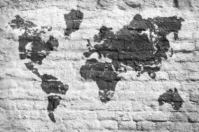Fototapete Weiße Wand und eine Bildkarte der Welt