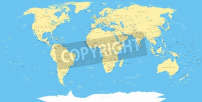 Fototapete Weiße Welt Karte und Navigation Symbole - Illustration.