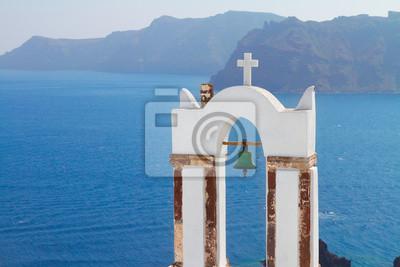 Fototapete weißen Glockentürme Insel Santorin, Griechenland