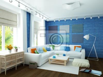Weissen Sofa In Grossen Leeren Modernen Blauen Zimmer Mit Parkettboden