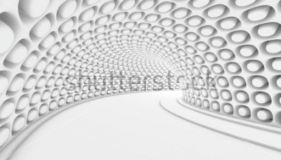 Fototapete Weißer abstrakter Hintergrund des Tunnels 3d. 3d render abbildung