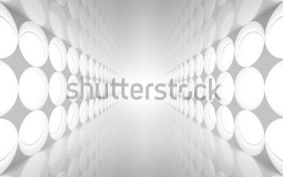 Fototapete Weißer abstrakter Innenraum 3d mit runder Dekoration beleuchtet Muster an der Wand