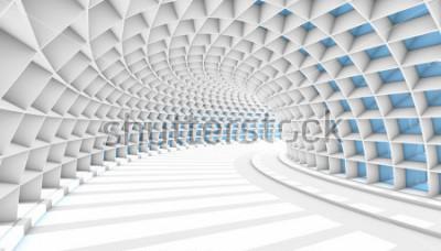 Fototapete Weißer abstrakter Tunnel mit blauen Rechteckfenstern. 3d render abbildung
