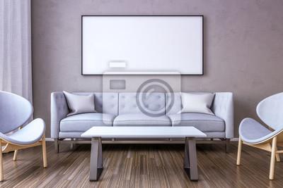 Weißer bilderrahmen an der wand im wohnzimmer. 3d übertragen ...