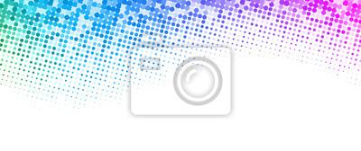 Fototapete Weißer Hintergrund mit buntem gepunktetem Halbtonmuster.