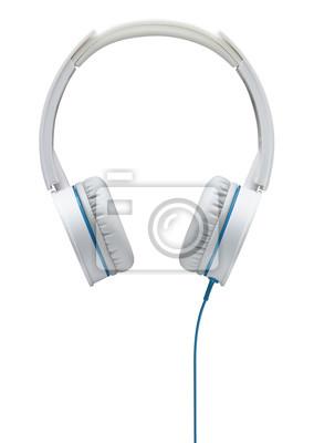 Weißer kopfhörer mit blauem draht isoliert auf weißem hintergrund ...