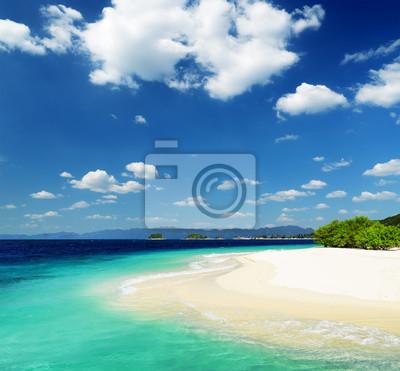 Fototapete Weißer Sandstrand und blauer Himmel