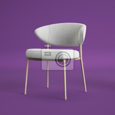 Weißer Stuhl Auf Violettem Hintergrund Digitale Illustration