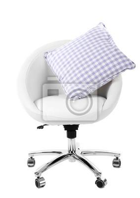 Weißer Stuhl Mit Kissen Isoliert Auf Weiß Fototapete Fototapeten