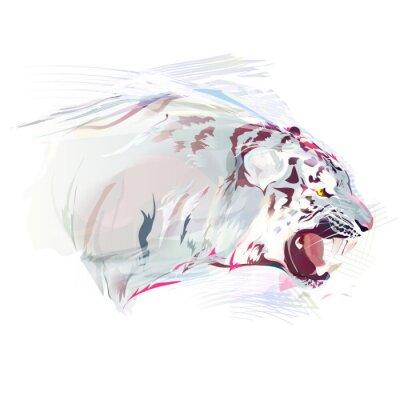 Fototapete Weißer Tiger, Aquarell-Illustration