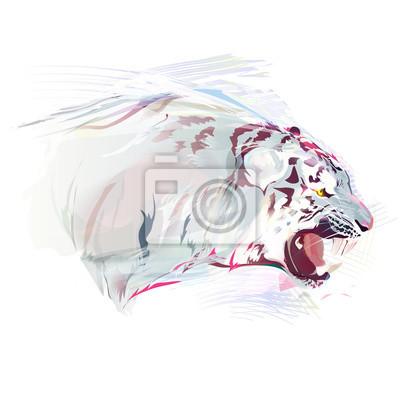 Weißer Tiger, Aquarell-Illustration