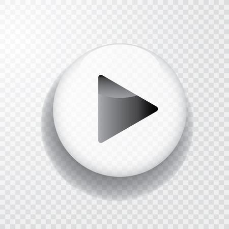 Fototapete Weißer transparenter Spielknopf mit Schatten, Symbol