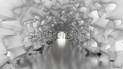 Fototapete Weißer Tunnel und Licht. 3d Abbildung, Wiedergabe 3d.