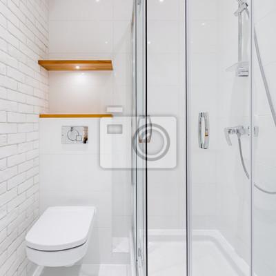 Fototapete: Weißes badezimmer mit ziegelsteinfliesen