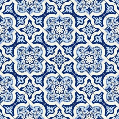 Weißes Blaues Marokkanisches Des Herrlichen Nahtlosen Musters - Tapete portugiesische fliesen