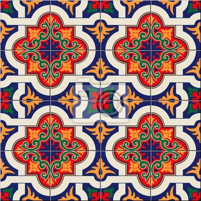 Weißes Buntes Marokkanisches Des Herrlichen Nahtlosen Musters - Tapete portugiesische fliesen