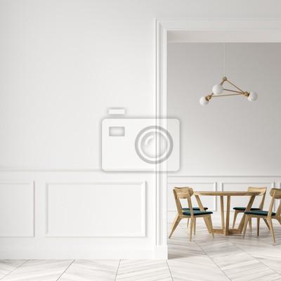 Weisses Esszimmer Holzstuhle Tur Und Wand Fototapete Fototapeten