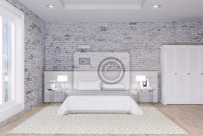 Weißes schlafzimmer in ziegelmauern loft interieur fototapete ...