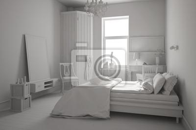 Weißes schlafzimmer mit bett fototapete • fototapeten Innenräume ...